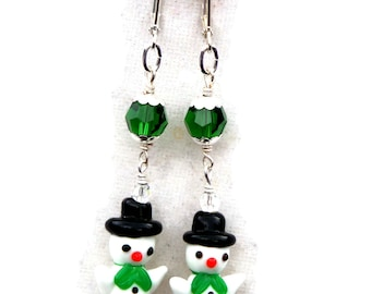 Snowman Earrings, Winter Holidays, Swarovski Beads, Lampwork Snowman, Christmas Snowman, Holiday Party, Crystal Jewelry