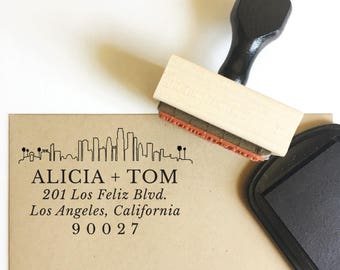 return address stamp - no. 49 - ANY skyline custom rubber stamp - your city skyline - personalized - wedding - save the dates - stationery