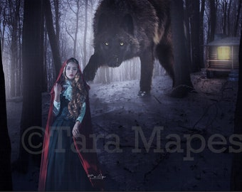 Little Red Riding Hood and Wolf in Dark Forest and Grandma's Cabin Digital Background