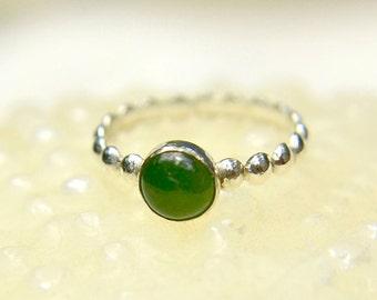 Jade Stacking Ring, Sterling Silver Bead Ring with Jade Gem, Bridesmaids Gifts, May Birthstone