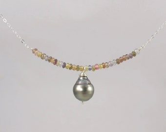 multi tourmaline and Tahitian pearl sterling silver minimalist necklace 16.5 inch