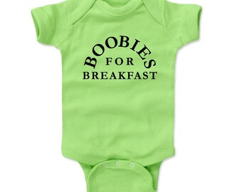 Funny Baby Boy Gift Baby Clothes   Funny Baby Shower Kids Romper   Boobies For Breakfast