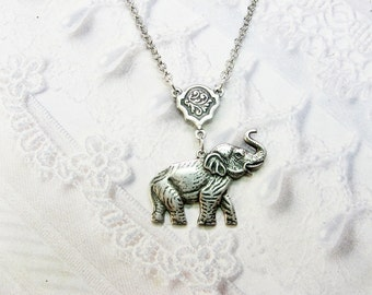Silver Necklace - Silver Elephant Necklace - Lucky Elephant Necklace - by BirdzNbeez - Birthday Best Friend Wedding Bridesmaids