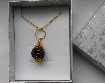 Beaded Bead Pendant .Vermeil Flower Cap . Copper Miyuki Seed Beads. Single Bead Statement Pendant - Eternal Beauty by enchantedbeads on Etsy