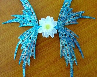 Fairy Wings-Iridescent Aqua Blue Fairy-Doll or Child size (Made by Request)