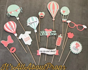 Up Up and Away Photo Booth Props -- Oh the Places you'll go Photo Booth Props -- Hot Air Balloon Photo Booth Props - Baby Shower Photo Props