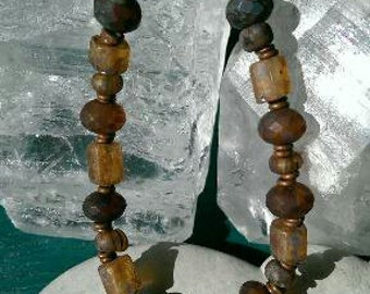 Earthen warm Czech bead bracelet