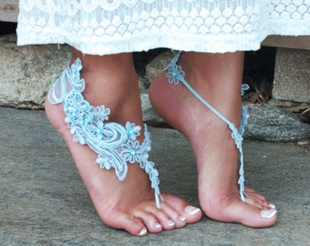 PALE BLUE Lace Barefoot Sandals LISA, Fantasy Beach Wedding, Earthing Summer Festival Accessories Romanic Fairy Powder Baby Blue, Robins Egg