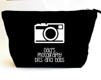 Photography Storage Bag- Photography Bits and Bobs-Gift for Dad/Grandad/Photographer,Black Canvas Storage Bag,Camera Accessory Bag/Pouch