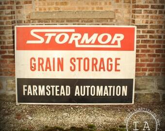 Vintage Stormor Grain Storage Farmstead Automation Metal Advertising Sign Large
