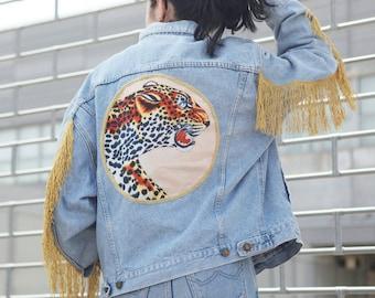 Vintage denim jacket, jean jacket, 90s denim jacket, custom jacket