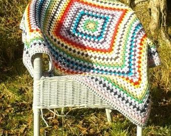 Merino Wool Baby Blanket, Rainbow Granny Square Baby Blanket, Handmade Crocheted Blanket, Cot Blanket, Rainbow Lap Blanket, Baby Shower