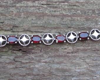 Vintage Bracelet, Sterling Silver Red Stone Bracelet, 7.5 Inch Bracelet, Garnet Bracelet, Vintage Silver Bracelet