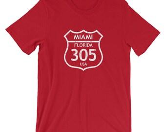 Miami 305 Area Code T-Shirt Vintage Road Sign Tee , Miami Beach 305 Florida Area T-Shirt Code Perfect Souvenir From Miami Florida