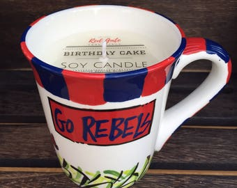 Licensed Ole Miss, University of Mississippi  Ceramic Coffee Mug with my Hand Poured, Soy Candle, Choose Your Scent