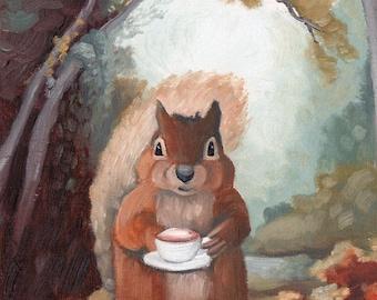 Squirrel w/ Cappuccino - 8x8 print