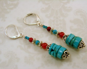 Turquoise and Carnelian Earrings with Sterling Silver Handmade Handcrafted Southwestern Style