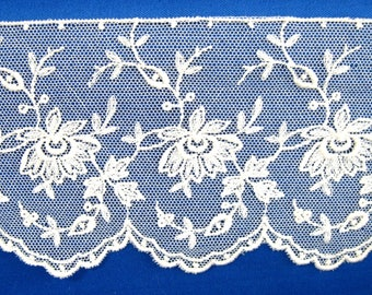Antique Lace Trim 1900-1920 Embroidered Flowers On Net 45 Inches Long Edwardian