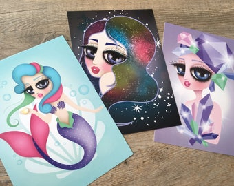 Set of 3 Postcards, 5x7 inches, Digital Illustration