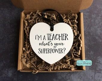 Thank You Teacher Heart Ornament Teachers Superpower Heart Gift Ornament Thank You Teacher Metal Sign Aluminium Teacher Heart