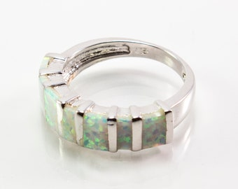 Rectangular-Set White Lab Created Opal Ring