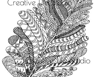 Feather Tangle Adult Coloring Page