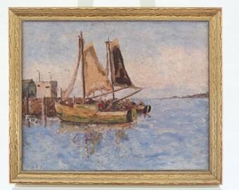 Seascape Oil Painting Gloucester Style Harbor Scene Nautical 1920s Framed Signed Antique Original