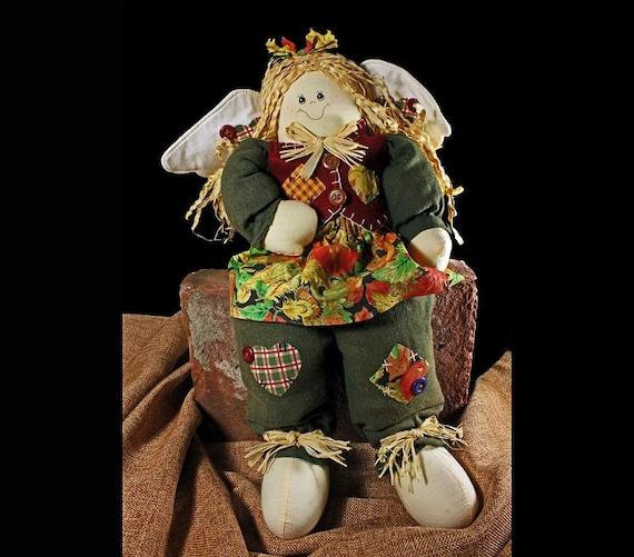 Cloth Angel Art Doll With Raffia Hair, Fall Clothing