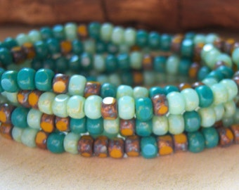 Czech  4mm Trica bead mix, turquoise mustard, lot of (50) beads-  KC154