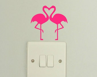 Twin Heart Flamingos Decal Sticker - Wall Art
