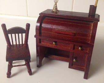 Dollhouse vintage wooden roll top writing desk with lamp and utensils accessories