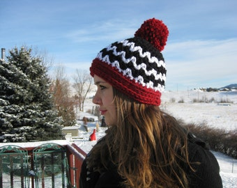 Black and White ZigZag Hat with Red Pom Pom
