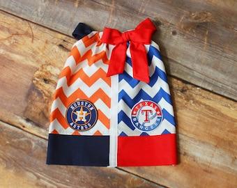 Rangers Astros Dress - House Divided dress newborn baby toddler child girls infant Texas Rangers Houston Astros baseball