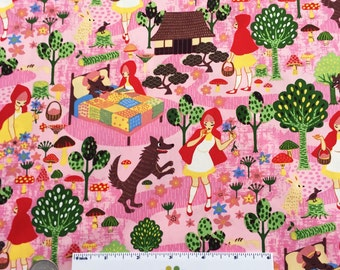 RED RIDING HOOD Pink Japanese Cotton Quilt Fabirc by the Yard, Half Yard, Fat Quarter Fq Japan Little Wolf