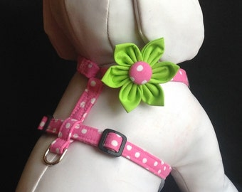 Pink Polka Dot Dog Harness Flower Set-Adjustable Sizes XS, S. M, L, XL