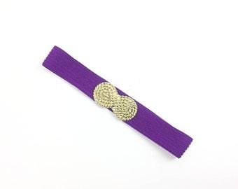 L purple belt, wide belt, elastic belt, women's belt, 1980s Belt Vintage, rockabilly Belt, pinup belt