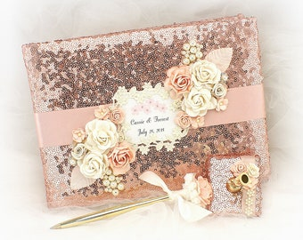 Wedding Guest Book Rose Gold Blush Sequin Personalized Book for Guests Elegant