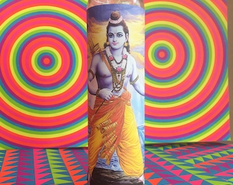 "Rama ϟ 8"" Altar Candle - Hinduism - meditation - channeling - worship - handmade novena"