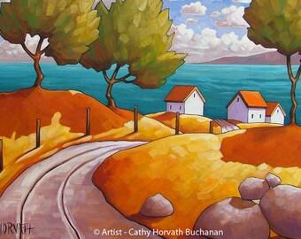 Seaside Road 5x7 Print, Coastal Landscape Giclee, Summer Ocean Cottage Road by Cathy Horvath, Modern Folk Art Print, Scenic Seascape Artwork