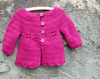 Cute crocheted cardigan for little girls - Ready to ship - Size 18 months to 2 year old