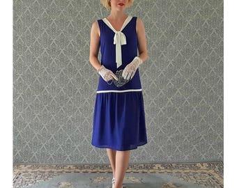 Little nautical flapper dress in dark blue and off white, Great Gatsby dress, 1920s flapper dress, art deco dress, Charleston dress