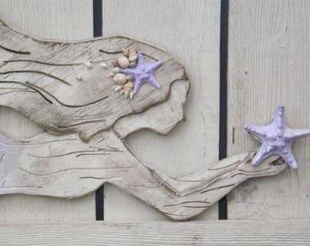 Wood Mermaid Wall Decor~ Lavender~X Large Mermaid ~Mermaid ~Mermaid Wall Art~Mermaid Wall Decor