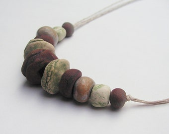 "Rustic Stoneware Bead 18"" Necklace - Artisan Beads - White, Black, Brown, Green"