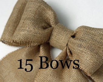 Burlap Pew Bows (15) Natural Burlap Large Double Bow Set Rustic Country Chic Handmade Wedding Decor Chair Bow