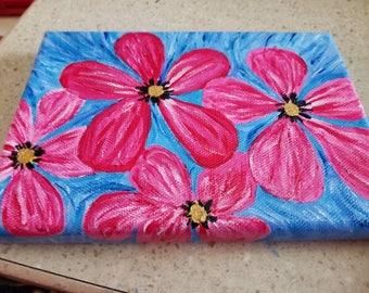 Flowers in acrylics 5X7 original