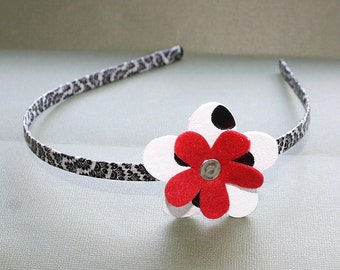 CLEARANCE - Black White and Red Wrapped Head Band - Washi Tape and Metal Headband - Leather and Felt Flower