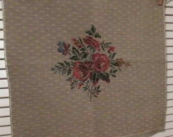 Two Vintage Tapestry Panels - Heavy Woven Fabric - Tan With Floral Spray - Seat Cushions/ Pillows