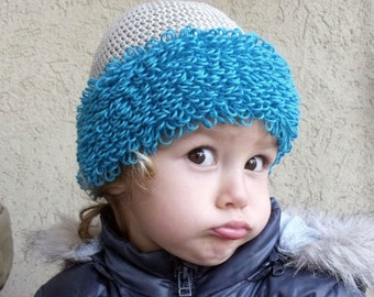 Turquoise Beige Baby Hat - More Sizes - PDF Crochet Pattern