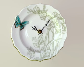 "Small Wall Clock 6-1/2"", SILENT Sage Turquoise Floral Wall Clock with Butterfly, Porcelain Plate Clock, Unique Wall Clock - 2495"