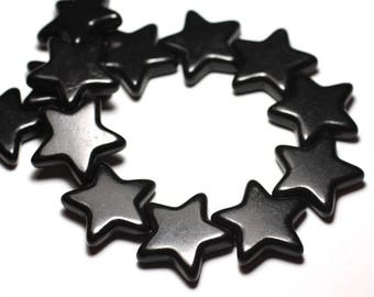 large reconstituted synthetic Turquoise beads 6PC - star 25 mm black - 8741140010239